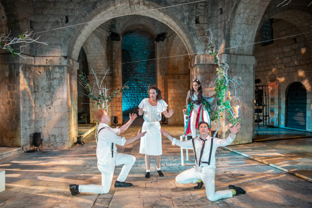 Production Photo of A Midsummer Night's Dream 2018 at Fort Lovrijenac featuring Sheetal Kapoor and Hannah Brackstone Brown