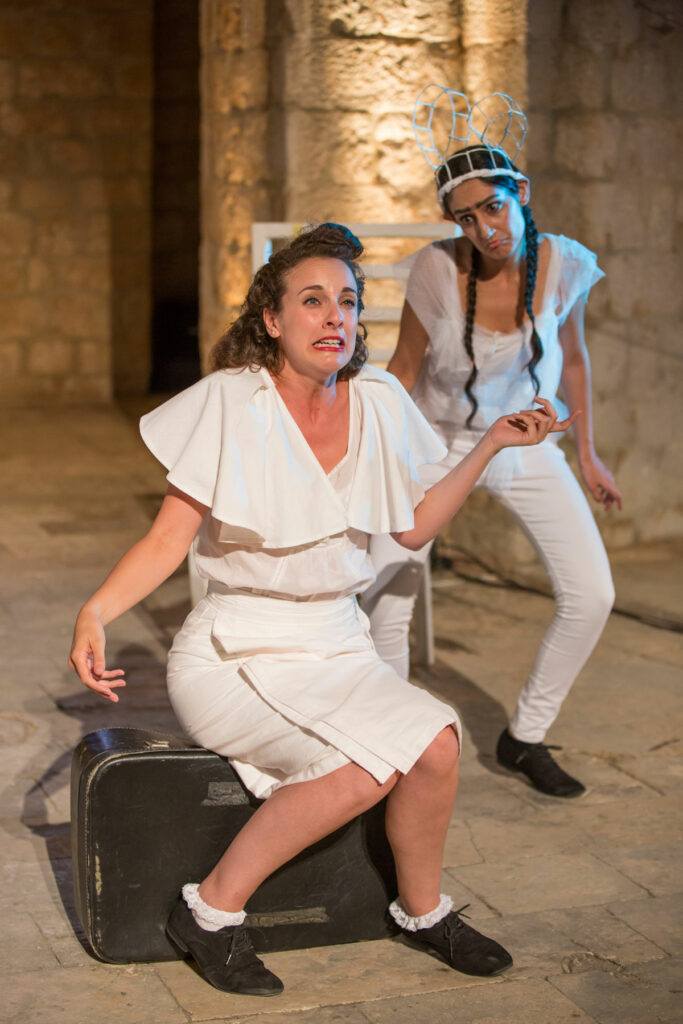Production photo of Sheetal Kapoor and Hannah Brackstone Brown for A Midsummer Night's Dream in Dubrovnik