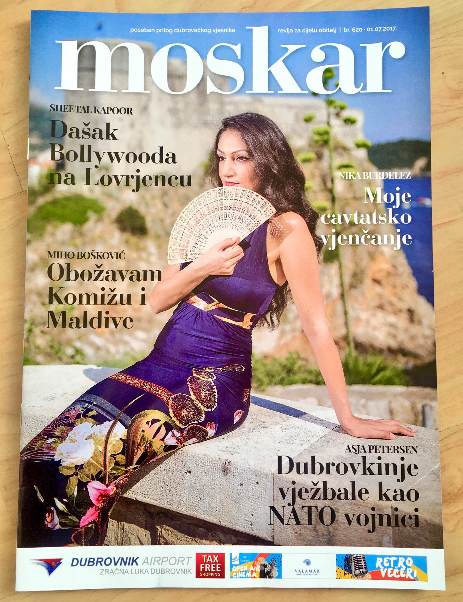 Front Cover of Moskar Magazine interview with Sheetal Kapoor Photography by Tonci Plazibat - Hanza Media