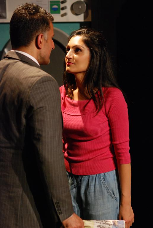 Production photo of My Beautiful Laundrette at The Tristan Bates Theatre directed by Helen Tennison featuring Sheetal Kapoor